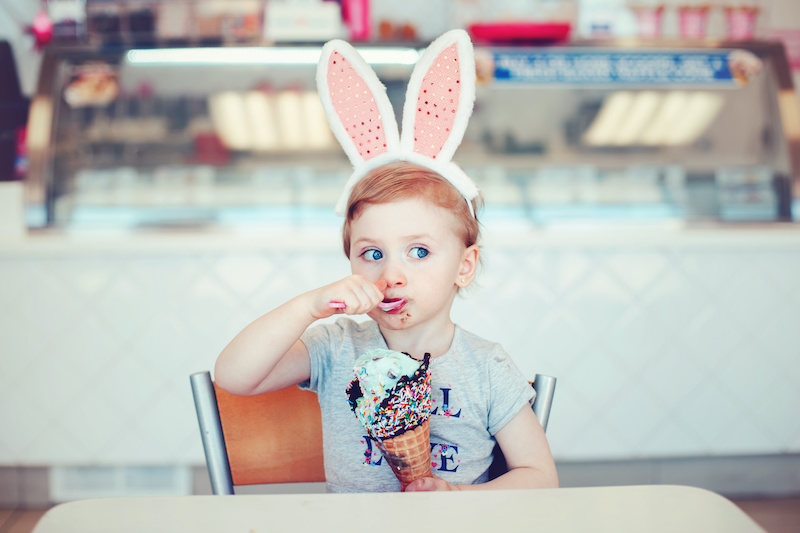 Eating ice cream in bunny ears at Easter
