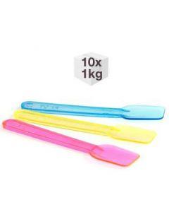 10 x 1KG Bags x 9.5cm Fluorescent Plastic Spade Ice Cream Spoons