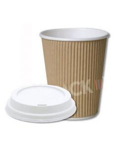 12 oz Kraft Brown Ripple Cups with White Sipper Lids