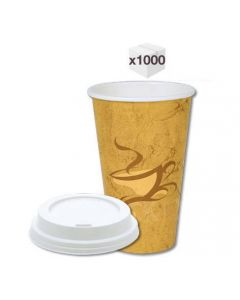 16 oz Generic Single Wall Coffee Cups with White Sipper Lids