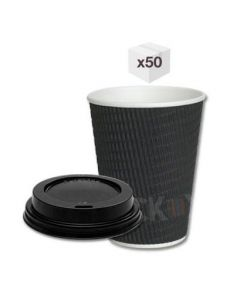 8 oz Black Ripple Cups with Black Sipper Lids