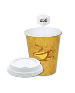 8 oz Generic Single Wall Coffee Cups with white Sipper Lids