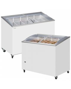 Sliding Flat Glass Lid Chest Freezer White Curved Lid - ICB100SCEB