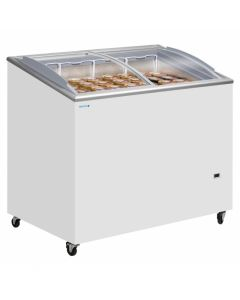 Sliding Flat Glass Lid Chest Freezer White Curved Lid - ICP300SCEB