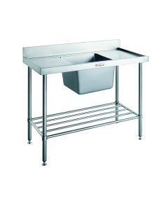 Narrow Stainless Steel Bench with Splashback & Right Bowl Sink