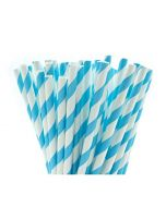 Aqua Blue & White Paper Straws