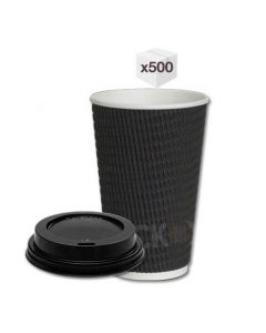 12 oz Black Ripple Cups with Black Sipper Lids