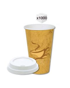 12 oz Generic Single Wall Coffee Cups with White Sipper Lids