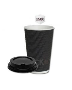 Black Ripple Cups with Black Sipper Lids