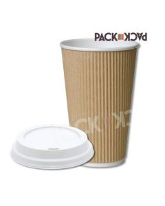 16 oz Kraft Ripple Cups with White Sipper Lids