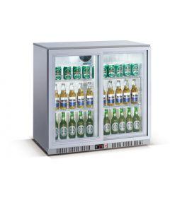 Silver Double Sliding Door Bottle Cooler