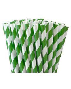 Green & White Paper Straws