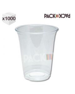 1000 x 20 oz Clear PET Smoothie Cups with Flat Straw Slot Lid