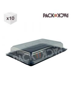 medium plastic sandwich platter with black base