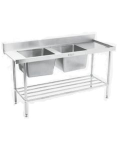 Double Sink Dishwasher Inlet Bench Left Hand Feed 1650 W x 600 D x 900 H mm (30KG)