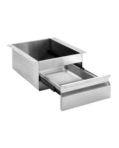19 Stainless Steel Drawer 385 W x 580 D x 235 H mm 1 x 150mm deep drawer to suit 1/1 GN(12.5KG)